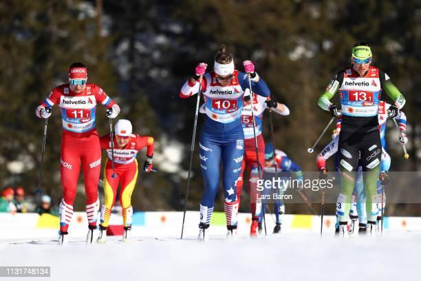 Natalia Nepryaeva of Russia Sadie Bjornsen of the United States and Katja Visnar of Slovenia compete in the second semifinal run for the Ladies'...