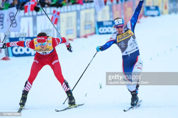 Natalia Nepryaeva of Russia takes 2nd place Jessica Diggins of USA takes 3rd place during the FIS Nordic World Cup Men's and Women's Cross Country...