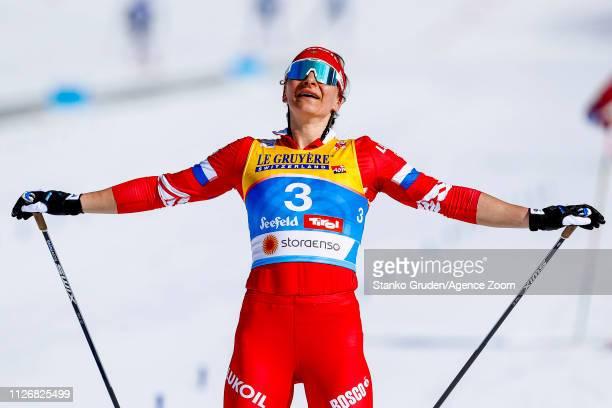 Natalia Nepryaeva of Russia takes 3rd place during the FIS Nordic World Ski Championships Men's and Women's Cross Country Skiathlon on February 23...