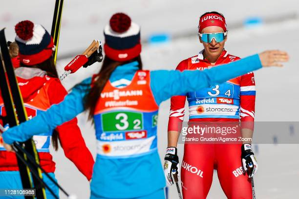 Natalia Nepryaeva of Russia takes joint 3rd place during the FIS Nordic World Ski Championships Women's Cross Country Relay on February 28 2019 in...