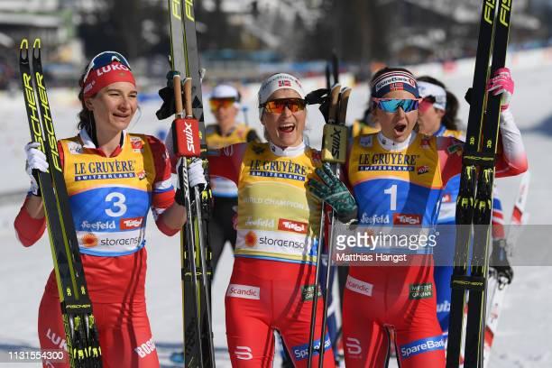 Natalia Nepryaeva of Russia Therese Johaug of Norway and Ingvild Flugstad Oestberg of Norway celebrates after the Cross Country Skiathlon Ladies 15k...