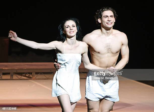 Natalia Osipova and Ivan Vasiliev bow at the curtain call during the Ardani 25 Dance Gala at The London Coliseum on July 17 2015 in London England