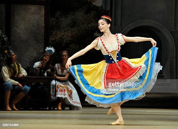 Natalia Osipova as Swanilda with artists of the company in the Bolshoi Ballet's production of Enrico Cecchetti, Marius Petipa, George Balanchine and...