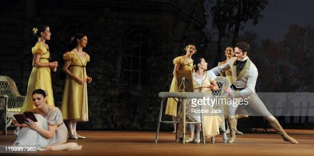 Natalia Osipova as Tatiana Francesca Hayward as Olga and Matthew Ball as Lensky wit artists of the company in The Royal Ballet's production of John...