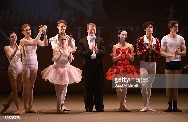 Natalia Osipova Edward Watson Daria Klimentovaas Vadim Muntagirov Valery Ovsyanikov Olesya Novikova Kimin Kim and Xander Parish on stage as the...