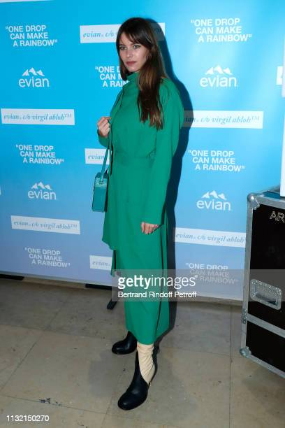 """Natalia Ostrofsky attends the launch of Evian and Virgil Abloh's limited-edition """"One Drop can make a Rainbow"""" collection at Theatre National de..."""