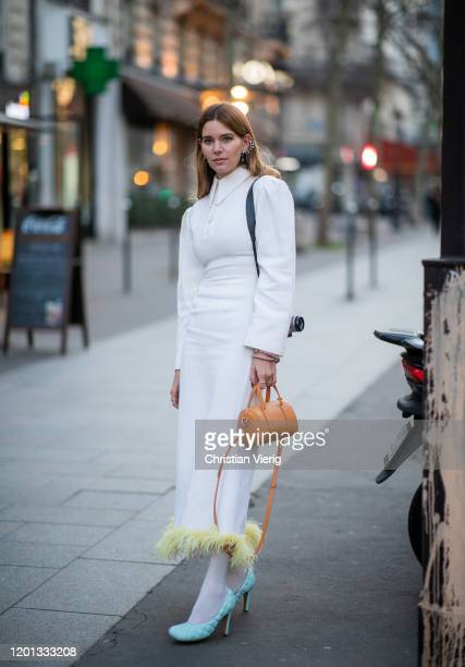 Natalia Ostrofsky seen outside Zuhair Murad during Paris Fashion Week - Haute Couture Spring/Summer 2020 on January 22, 2020 in Paris, France.
