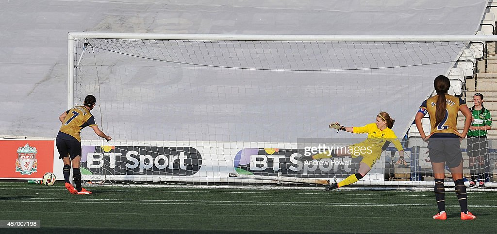 Natalia Pablos Sanchon of Arsenal Ladies FC misses a penilty during the Womens Super League match between Liverpool Ladies and Arsenal Ladies FC at Select Security Stadium on September 5, 2015 in Widnes, England.
