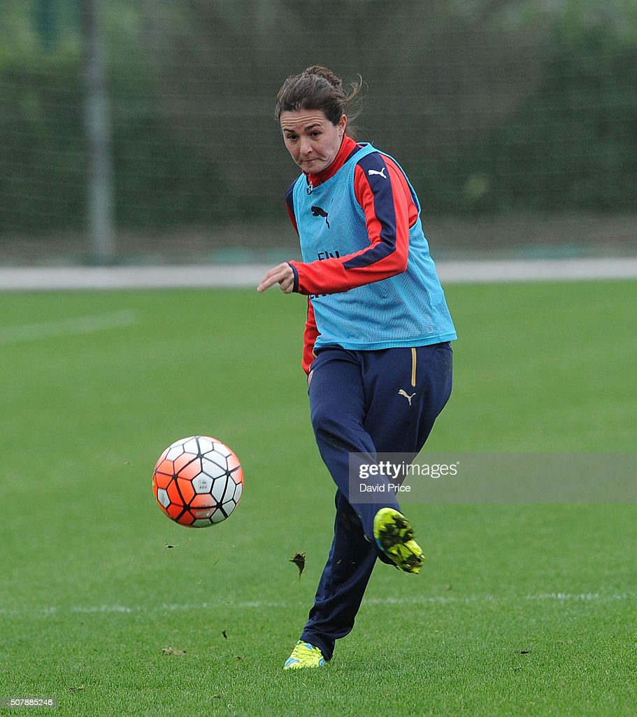 Natalia Pablos Sanchon of Arsenal Ladies in action during the Arsenal Ladies training session at London Colney on January 29, 2016 in St Albans, England.