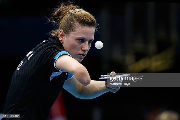 Natalia Partyka of Poland serves against Qian Yang of China in the final of the women's Singles Table Tennis - Class 10 on day 5 of the London 2012...