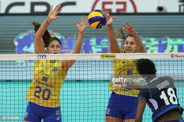 Natalia Pereira and Ana Beatriz Correa of Brazil in action during the final match between Brazil and Italy during 2017 Nanjing FIVB World Grand Prix...