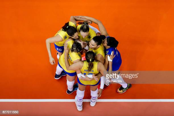 Natalia Pereira of Brazil celebrate during 2017 Nanjing FIVB World Grand Prix Finals between Italy and Brazil on August 6 2017 in Nanjing China