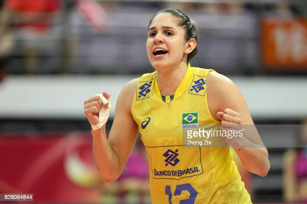 Natalia Pereira of Brazil celebrates a point during the match between the Netherlands and Brazil during 2017 Nanjing FIVB World Grand Prix Finals on...