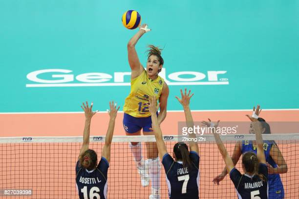 Natalia Pereira of Brazil in action during the final match between Brazil and Italy during 2017 Nanjing FIVB World Grand Prix Finals on August 6 2017...