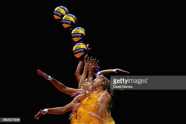 Natalia Pereira of Brazil serves during the Women's Quarterfinal match between China and Brazil on day 11 of the Rio 2106 Olympic Games at the...