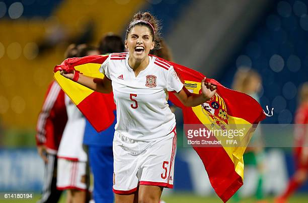 Natalia Ramos of Spain celebrates after winning the FIFA U17 Women's World Cup Quarter Final match between Germany and Spain at Amman International...