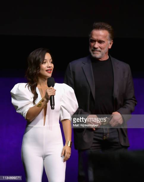 Natalia Reyes and Arnold Schwarzenegger speak onstage at CinemaCon 2019 Paramount Pictures Invites You to an Exclusive Presentation Highlighting Its...