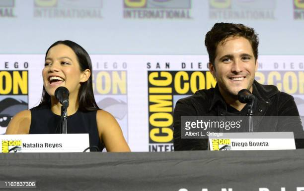 Natalia Reyes and Diego Boneta speak at the Terminator Dark Fate panel during 2019 ComicCon International at San Diego Convention Center on July 18...