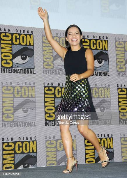 Natalia Reyes speaks at the Terminator Dark Fate panel during 2019 ComicCon International at San Diego Convention Center on July 18 2019 in San Diego...