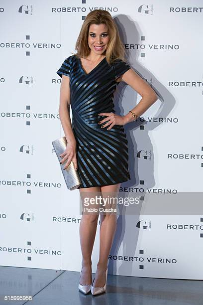 Natalia Rodriguez attends a cocktail reception hosted by the designer Roberto Verino to present his new collection at 'Platea' on March 16 2016 in...
