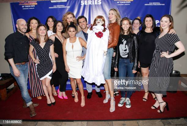 Natalia Safran the Annabelle Doll and the cast and crew of the Unauthorized Musical Parody of 'A League Of Their Own' attend the media preview night...
