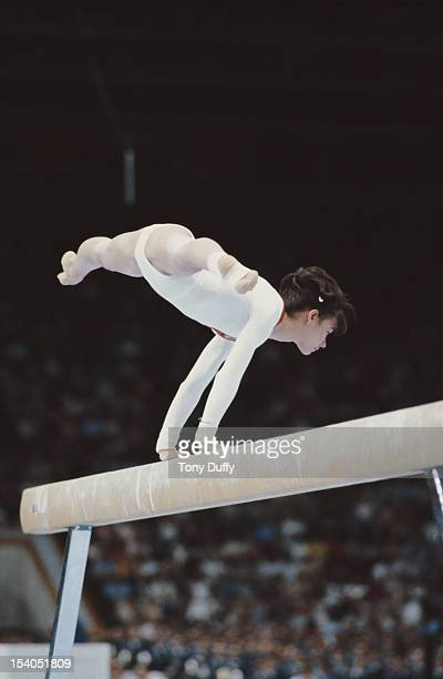 Natalia Shaposhnikova of the Soviet Union performs in the Women's Balance Beam event on 25th July 1980 during the XXII Olympic Summer Games at the...