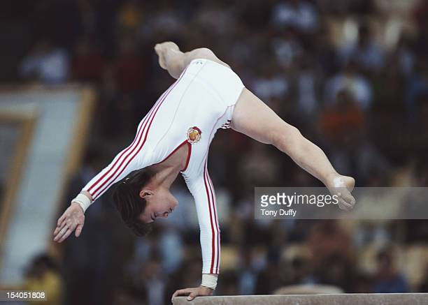 Natalia Shaposhnikova of the Soviet Union performs on the Women's Balance Beam event on 25th July 1980 during the XXII Olympic Summer Games at the...