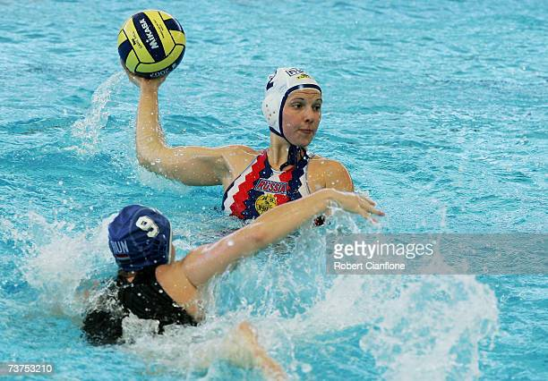 Natalia Shepelina of Russia in action during the Women's Bronze Medal Water Polo match between Russia and Hungary at the Melbourne Sports Aquatic...