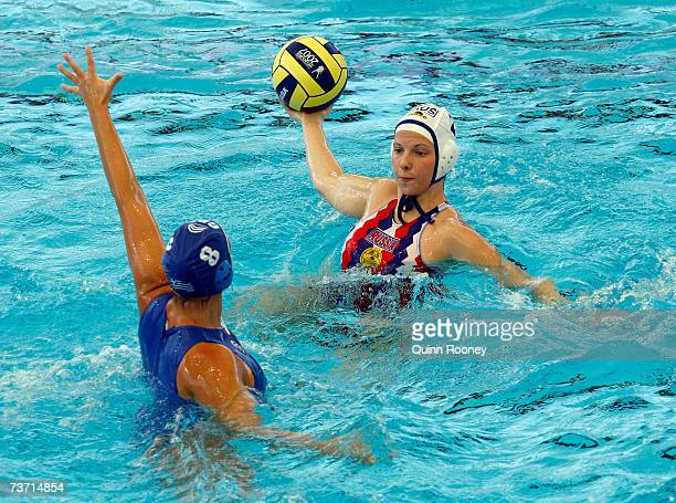 Natalia Shepelina of Russia looks to get a pass away during the Women's Quarter Final Round Water Polo match between Russia and Greece at the...