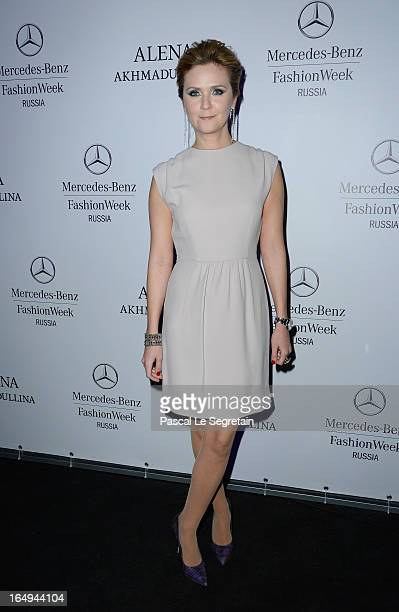 Natalia Sokolova attends the Alena Akhmadullina show during MercedesBenz Fashion Week Russia Fall/Winter 2013/2014 at Manege on March 29 2013 in...