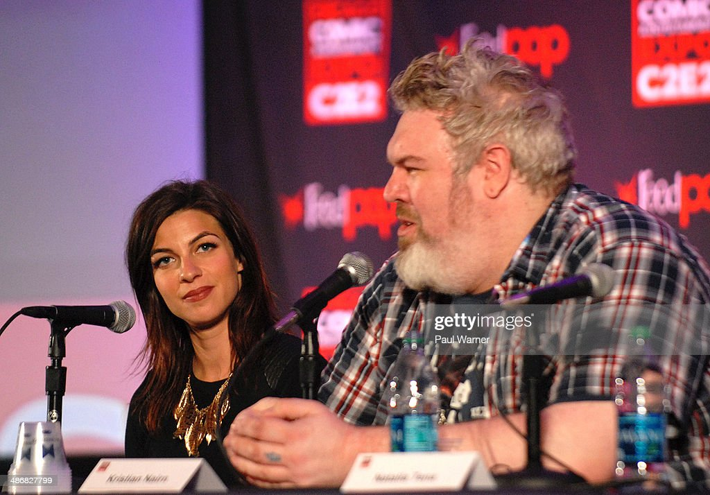 Natalia Tena and Kristian Nairn (R) from Game of Thrones attend the 2014 Chicago Comic and Entertainment Expo at McCormick Place on April 25, 2014 in Chicago, Illinois.