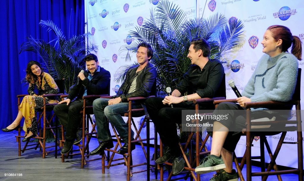 Natalia Tena, Stanislav Yanevski, James Phelps, Oliver Phelps and Bonnie Wright laugh during a Q&A session at the annual 'A Celebration of Harry Potter' at Universal Orlando on January 26, 2018 in Orlando, Florida.