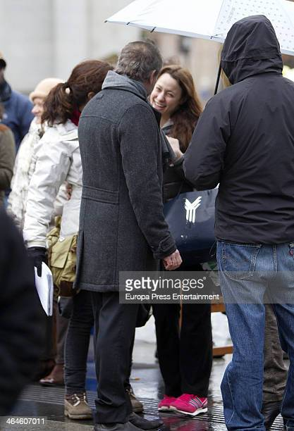 Natalia Verbeke and Gonzalo de Castro are seen on set filming 'BB De boca en boca' on January 14 2014 in Madrid Spain