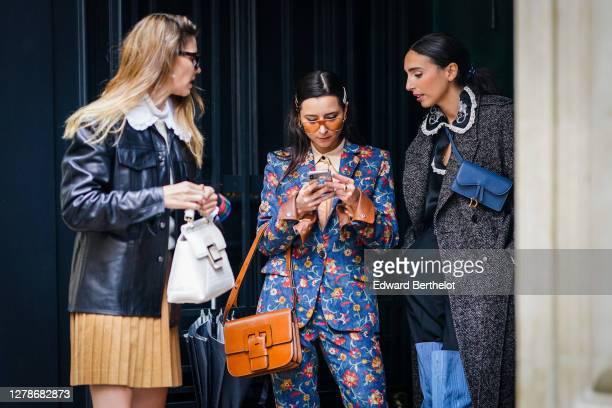 Natalia Verza, Julia Comil and Gabriella Berdugo are seen, outside Paul & Joe, during Paris Fashion Week - Womenswear Spring Summer 2021 on October...