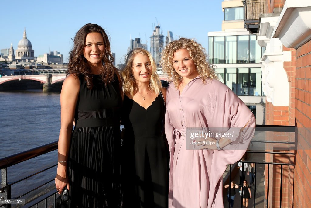 Natalia Vikhlyantseva, Daria Gavrilova and Katerina Siniakova attend the Women's Tennis Association (WTA) Tennis on The Thames evening reception at OXO2 on June 28, 2018 in London, England. The event was held to honour the powerful imprint female sporting legends and rising stars have made on the world, both on and off the tennis court.
