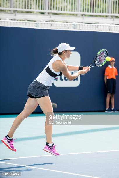 Natalia Vikhlyantseva in action during the Miami Open on March 20, 2019 at Hard Rock Stadium in Miami Gardens, FL.