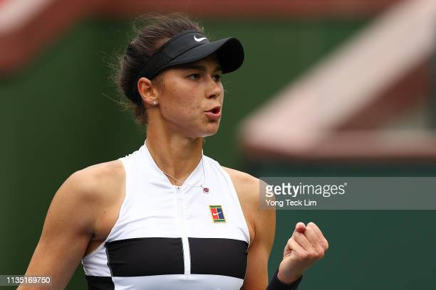 Natalia Vikhlyantseva of Russia celebrates a point against Angelique Kerber of Germany during their women's singles third round match on Day 8 of the...