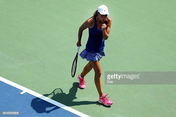 Natalia Vikhlyantseva of Russia celebrates after defeating Catherine Bellis of the United States during their junior girls' singles second round...
