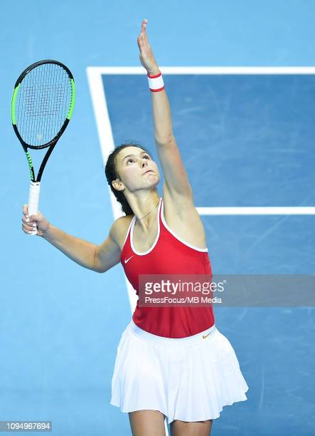 Natalia Vikhlyantseva of Russia in action during her match against Clara Tauson of Denmark during the Fed Cup Europe and Africa Zone Group I match...