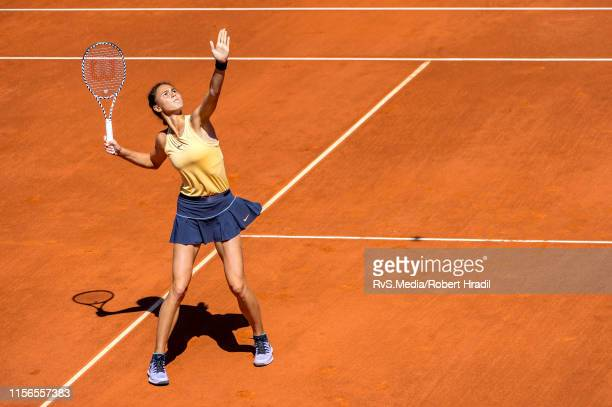 Natalia Vikhlyantseva of Russia in action during WTA Ladies Open Lausanne at Tennis Club Stade-Lausanne on July 19, 2019 in Lausanne, Switzerland.