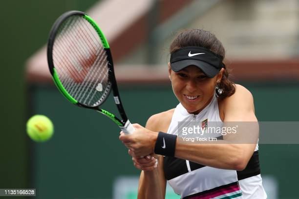 Natalia Vikhlyantseva of Russia plays a backhand against Angelique Kerber of Germany during their women's singles third round match on Day 8 of the...