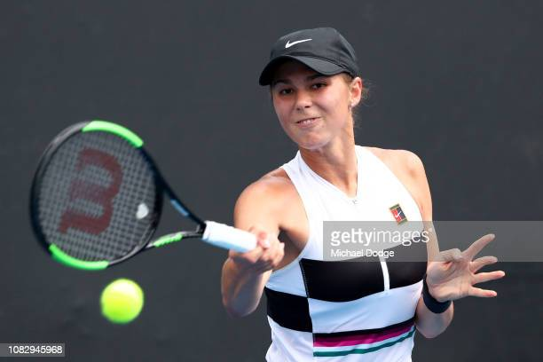 Natalia Vikhlyantseva of Russia plays a forehand in her first round match against Varvara Lepchenko of the United States during day two of the 2019...