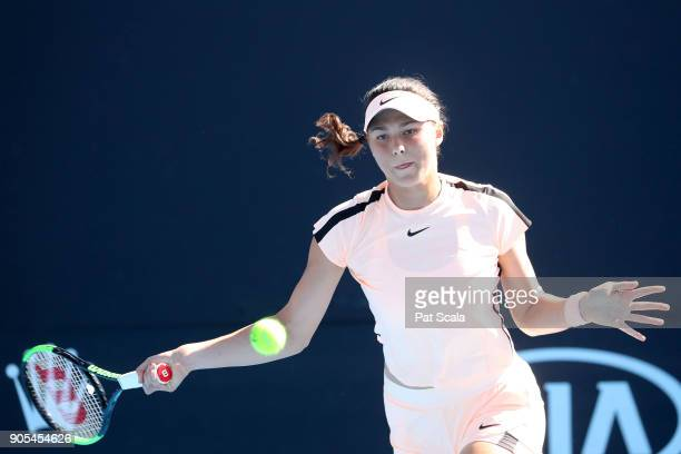 Natalia Vikhlyantseva of Russia plays a forehand in her first round match against Lesia Tsurenko of Ukraine on day two of the 2018 Australian Open at...