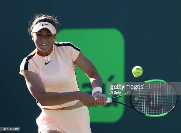 Natalia Vikhlyantseva of Russia plays a shot against Natalia Vikhlyantseva of Russia during Day 5 of the Miami Open at the Crandon Park Tennis Center...