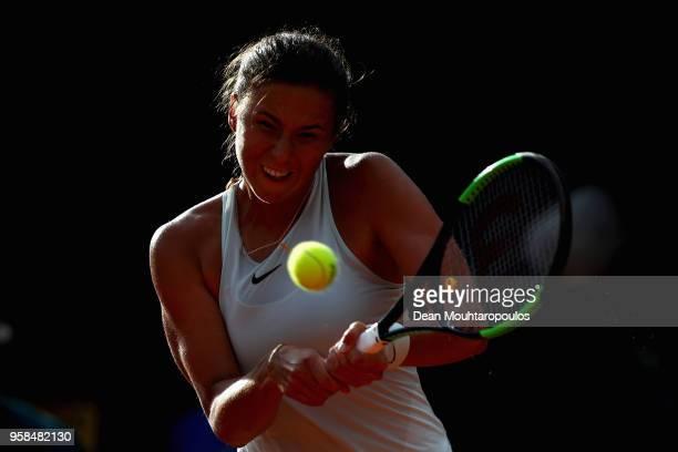 Natalia Vikhlyantseva of Russia returns a backhand in her match against Daria Gavrilova of Australia during day two of the Internazionali BNL...