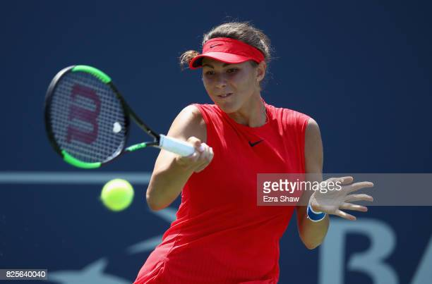Natalia Vikhlyantseva of Russia returns a shot to Ana Konjuh of Croatia during Day 3 of the Bank of the West Classic at Stanford University Taube...