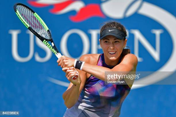 Natalia Vikhlyantseva of Russia returns a shot to Sachia Vickery of the United States on Day One of the 2017 US Open at the USTA Billie Jean King...