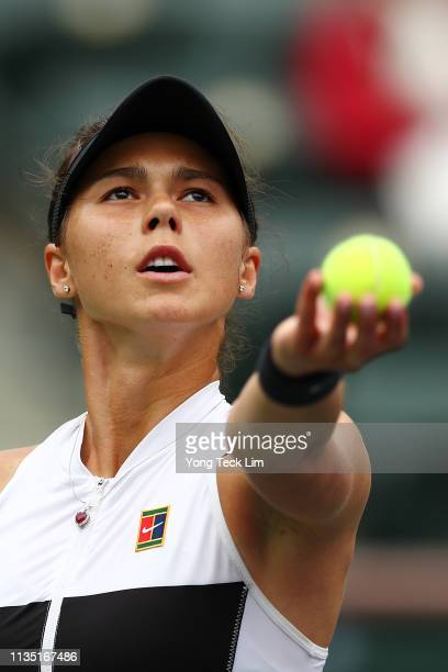 Natalia Vikhlyantseva of Russia serves against Angelique Kerber of Germany during their women's singles third round match on Day 8 of the BNP Paribas...