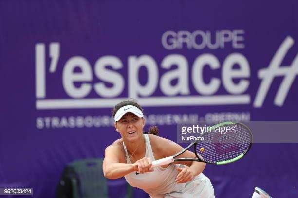 Natalia Vikhlyantseva plays against Anastasia Pavlyuchenkova during their WTA Open internaionaux de tennis de Strasbourg in Strasbourg on May 23, 2018