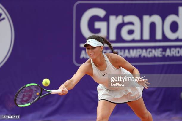 Natalia Vikhlyantseva plays against Anastasia Pavlyuchenkova during their WTA Open internaionaux de tennis de Strasbourg in Strasbourg on May 23, 2018
